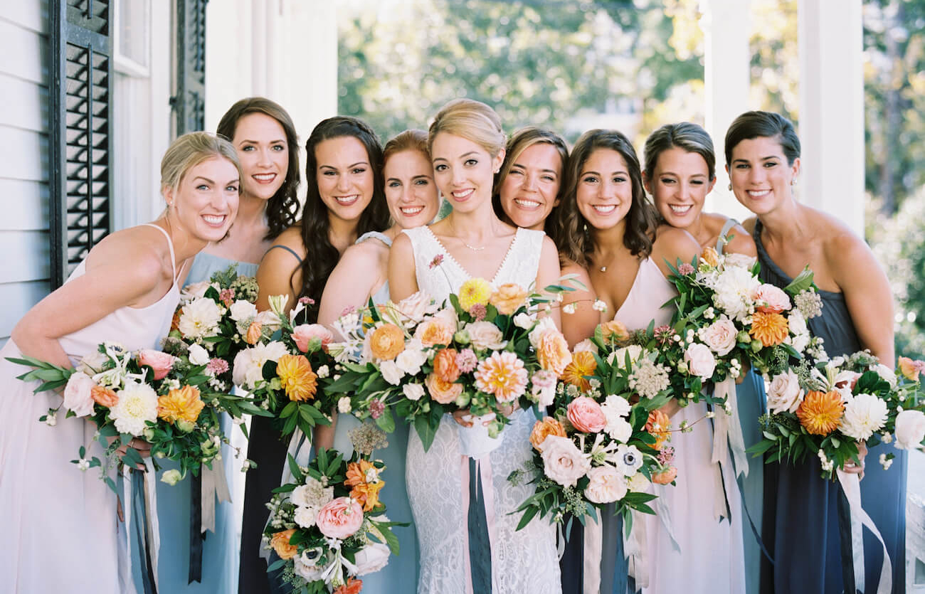 bride and bridesmaids at The Merrimon Wynne, Raleigh