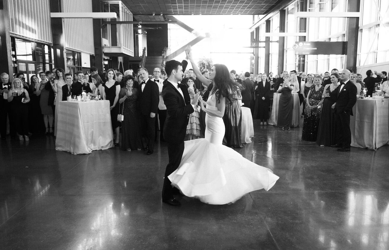 bride and groom dancing at wedding reception at Raleigh Union Station