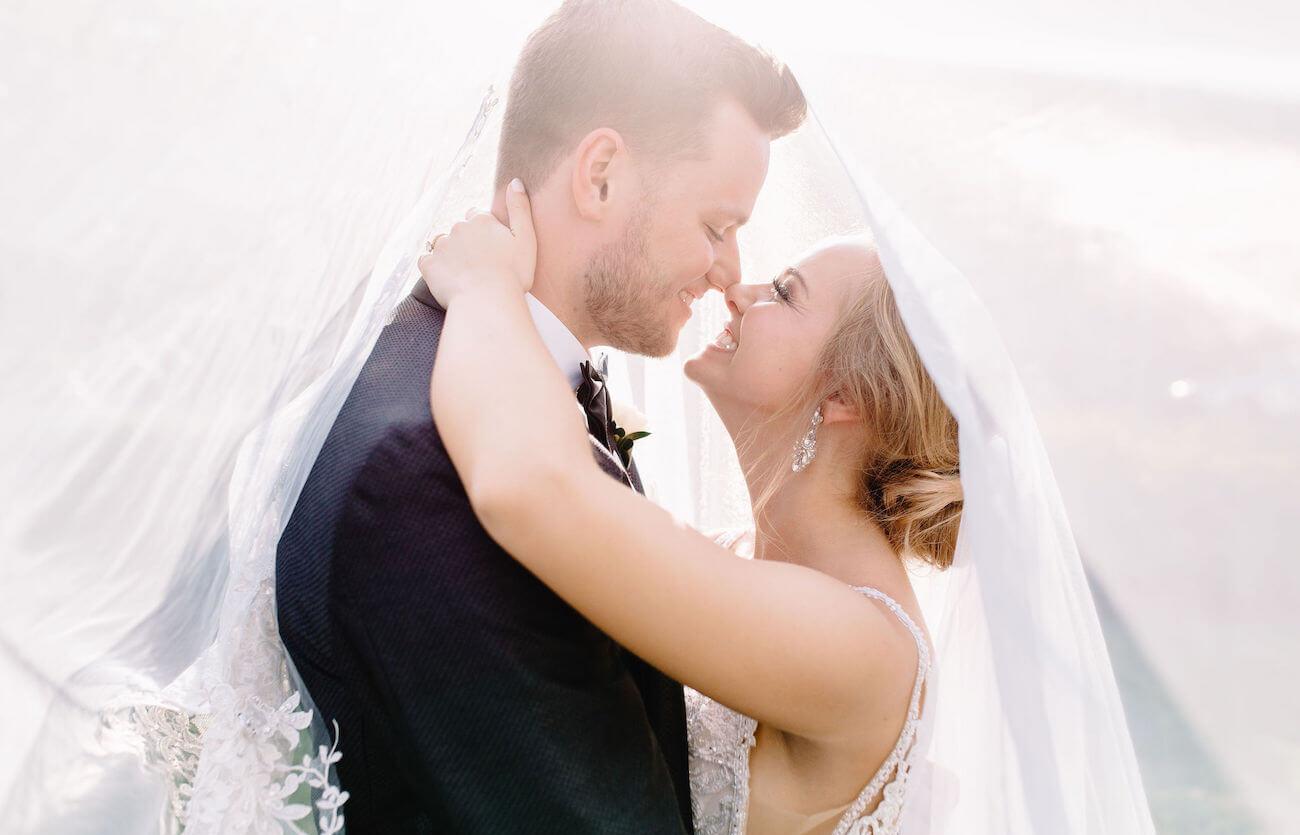 bride & groom embracing at Durham wedding