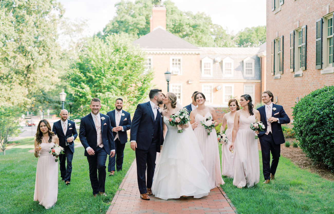 bride, groom, and wedding party at the Carolina Inn in Chapel Hill